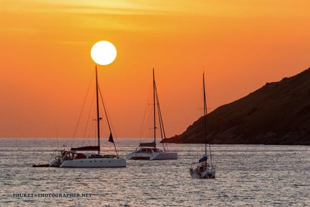 Sunset with yacht and catamaran. Phuket AD4A5561s