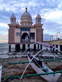 mosque in the sea in palu, sulawesi