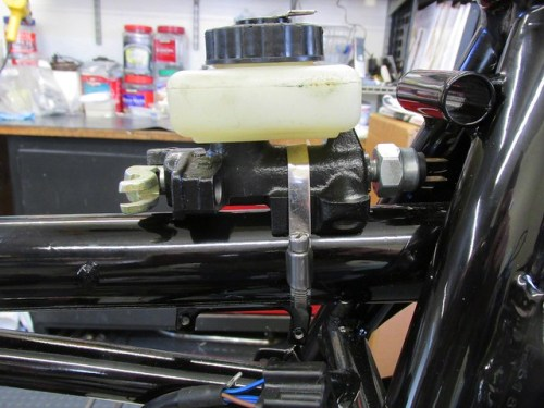 Rebuilt and Refinished Master Cylinder Mounted on Spine Tube