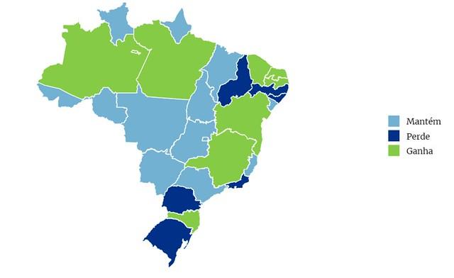 CCJ do Senado aprova matéria que aumenta bancada o Pará na Câmara, Mapa do Brasil - ganho, perda e manutenção de deputados