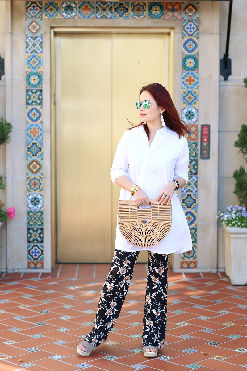 cult-gaia-ark-bag-white-shirt-floral-pants-steve-madden-sandals-1