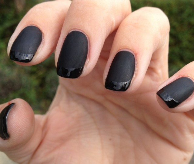 Dark Black And Glitter Dark Cool Shellac Nails