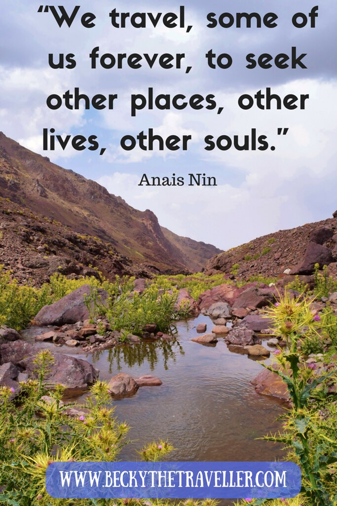 """We travel, some of us forever, to seek other places, other lives, other souls."" Anais Nin"