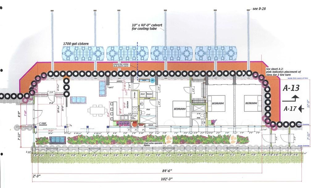Overhead Drawing Of Kinney Earthship Overhead Building