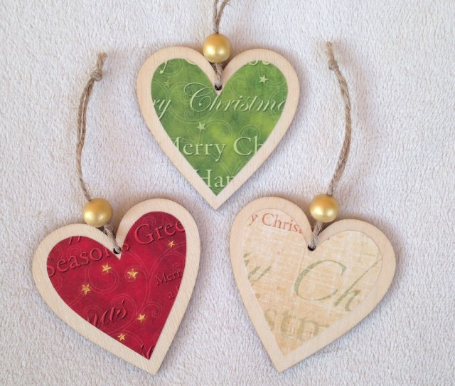 Handmade Wooden Heart Christmas Decorations By Bycreativehands