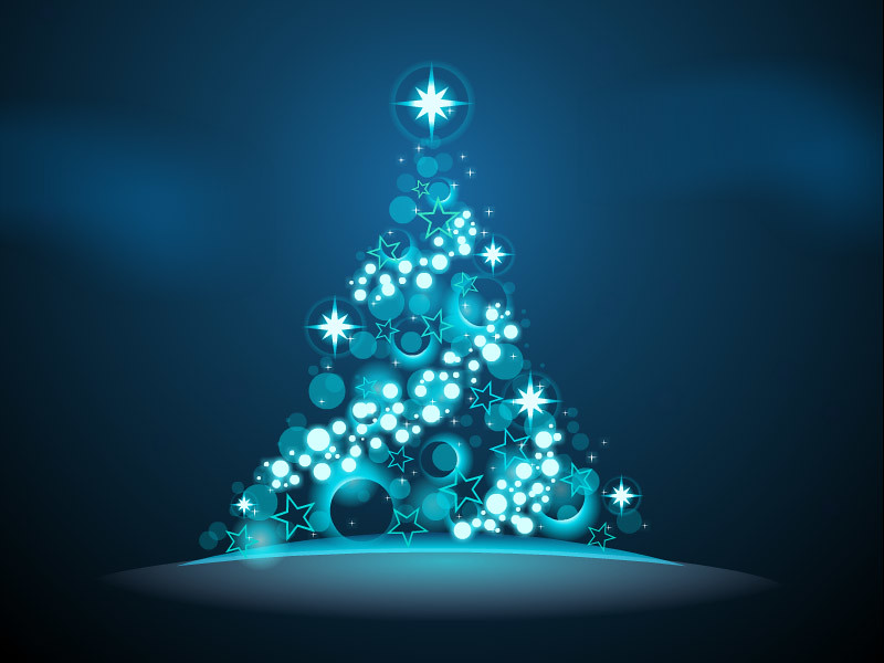 Glowing Christmas Tree Blue Twinkling Lights And