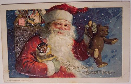 Vintage Christmas Postcard Santa Teddy Amp Krampus Jack I
