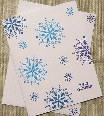 Randome Snowflake Christmas Card Handmade And