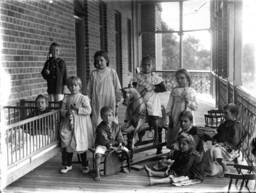 Patients on the verandah of the Royal Children's Hospital ...