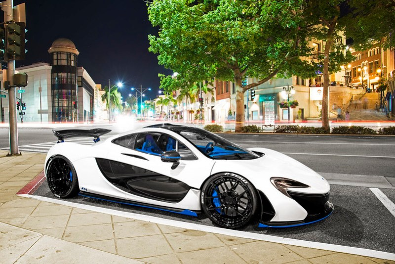 White/Blue McLaren P1 in Beverly Hills