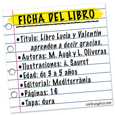 Ficha libro Lucía y Valentín aprenden a decir gracias