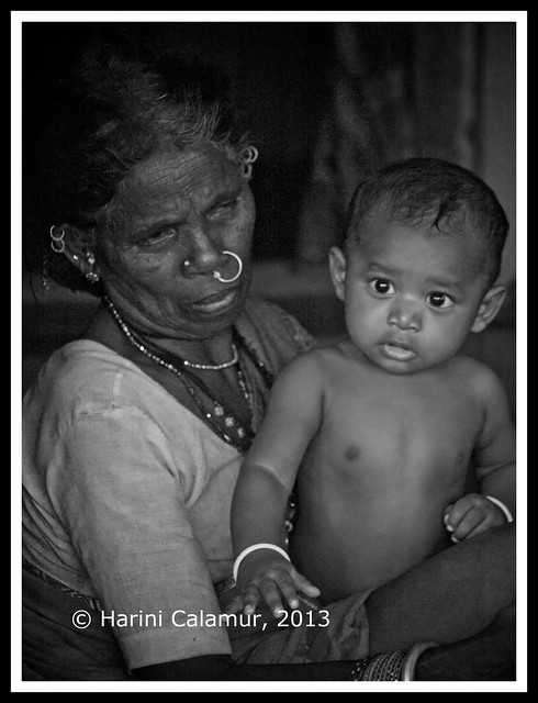 grand mother grand child bw copy