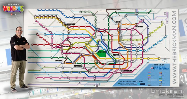 Tokyo subway system map built from 31 000 LEGO bricks   The Brothers     LEGO Brick Toyko Subway map