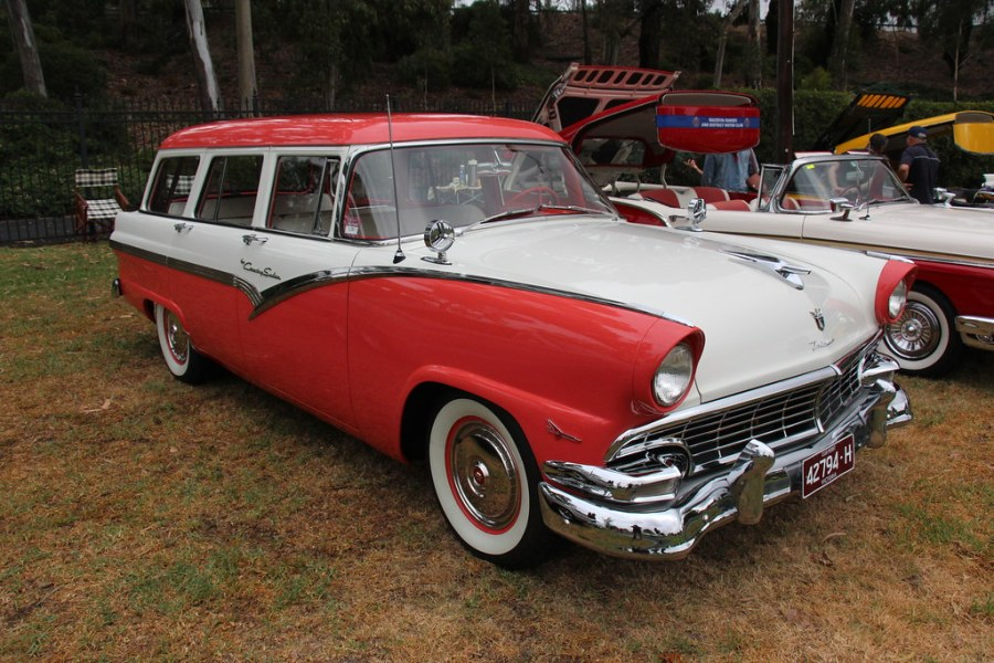 1955 ford cars » 1956 Ford Fairlane Country Wagon   Fiesta Red   Colonial Whi      Flickr     1956 Ford Fairlane Country Wagon   by Sicnag