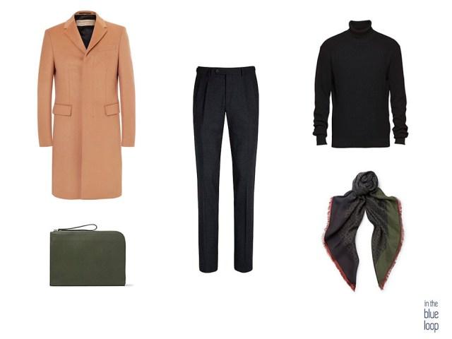Combinación masculina en negro y camel con un camel coat y jersey de cuello vuelto negro para hombre