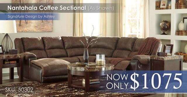 Nantahala Coffee Sectional 50302