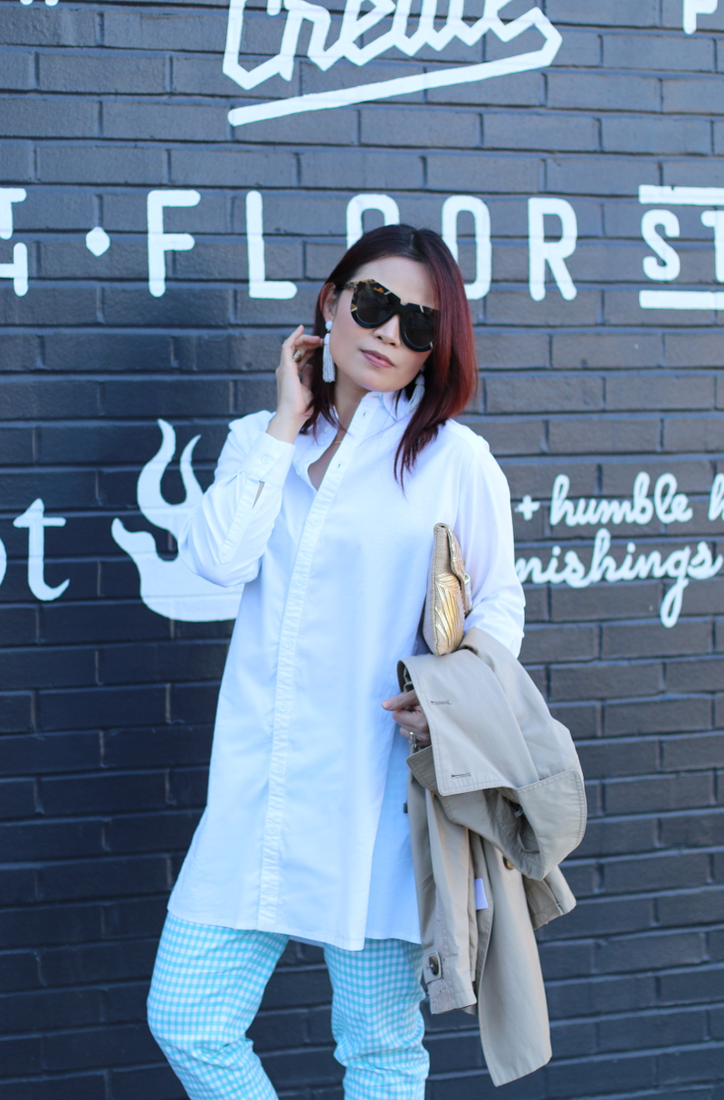 white-button-down-shirt-slimsation-check-pants-straw-clutch-karen-walker-sunglasses-8