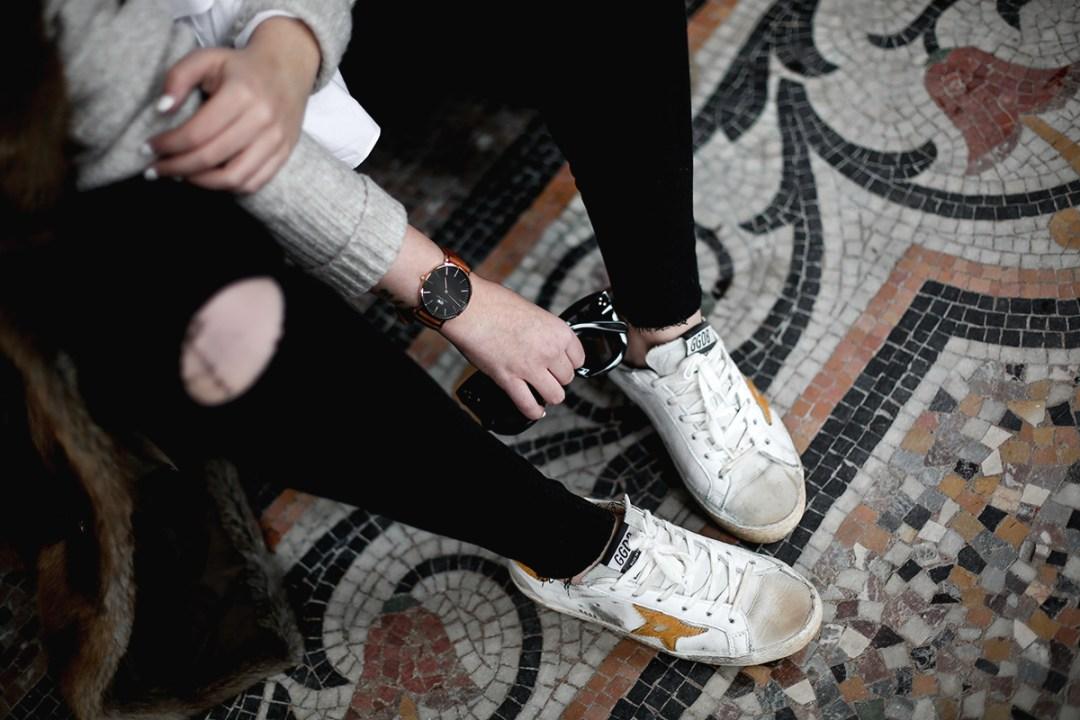 golden goose deluxe brand sneakers fur coat vintage streetstyle paris 2017