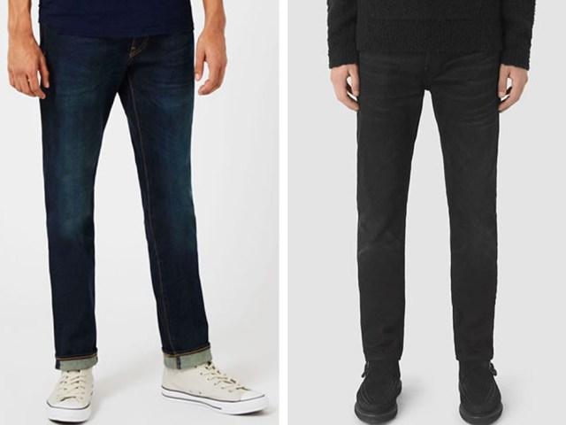 Los hombres altos deben llevar jeans o pantalón vaquero oscuro