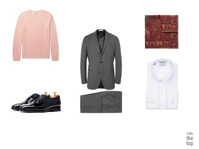 Mezcla de rosa y gris con un traje masculino gris y un jersey rosa para hombre