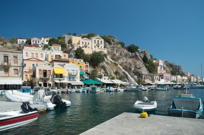harbour and town of Symi Greece