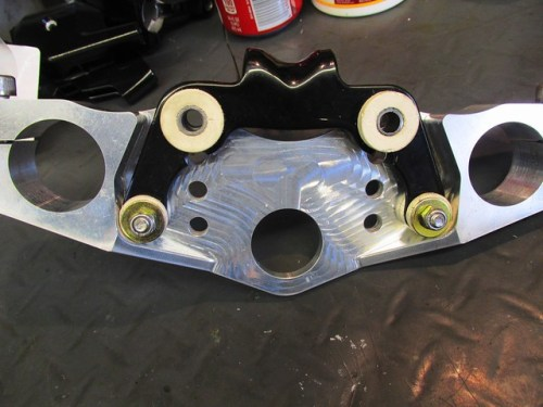 Instrument Bracket Mounted To Bottom of Top Clamp in Most Rearward Position