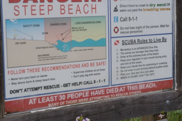 Warning Sign for Monastery Beach