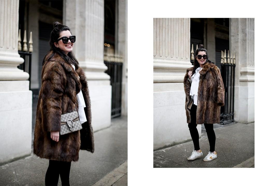 golden goose deluxe brand sneakers fur coat vintage streetstyle paris 2017-7