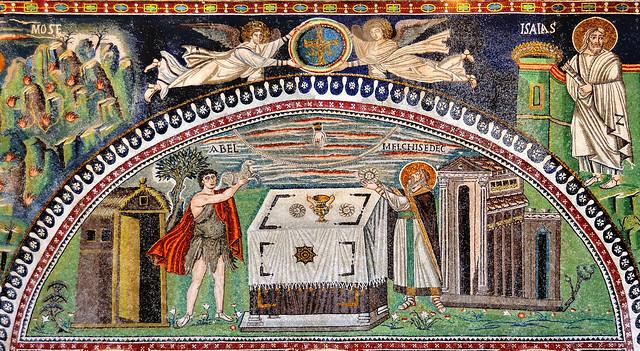 6thC lunette mosaic, Abel & Melchizedek sacrificing - Basilica di San Vitale, Ravenna