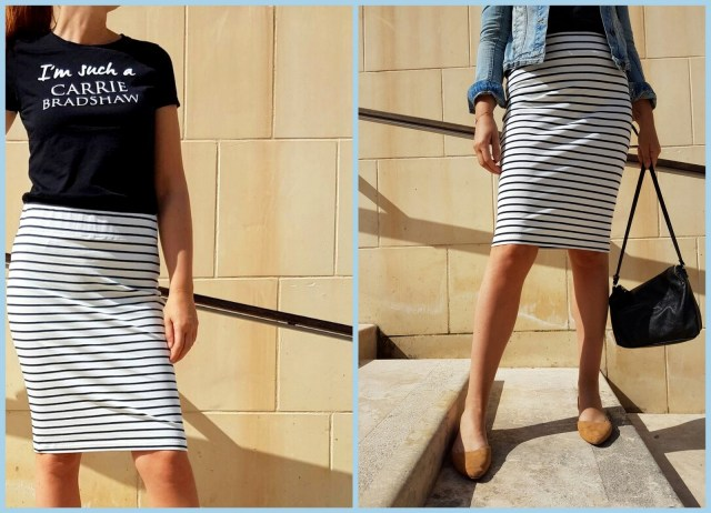 striped pencil skirt (collage)