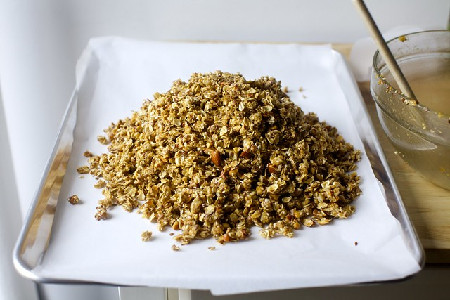 granola, ready to be pressed into bark