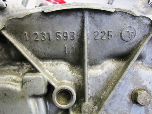 Front of Transmission Case with Casting Mark and Year/Month of Manufacture