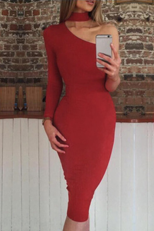 Red Bodycon One Shoulder Midi dress
