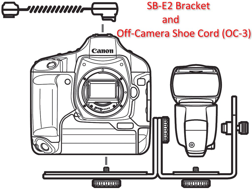 Canon Speedlite Bracket Sb E2 And Off Camera Shoe Cord Oc