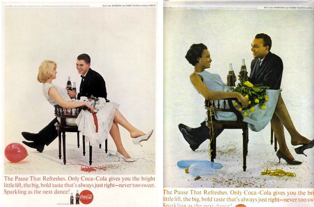 1963 Coca Cola Young Couple At Party Black People And Whit