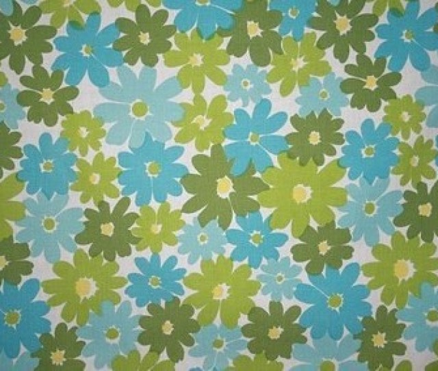 Vintage Fabric Retro Olive Green Yellow Mint And Bubblegum Blue Floral By