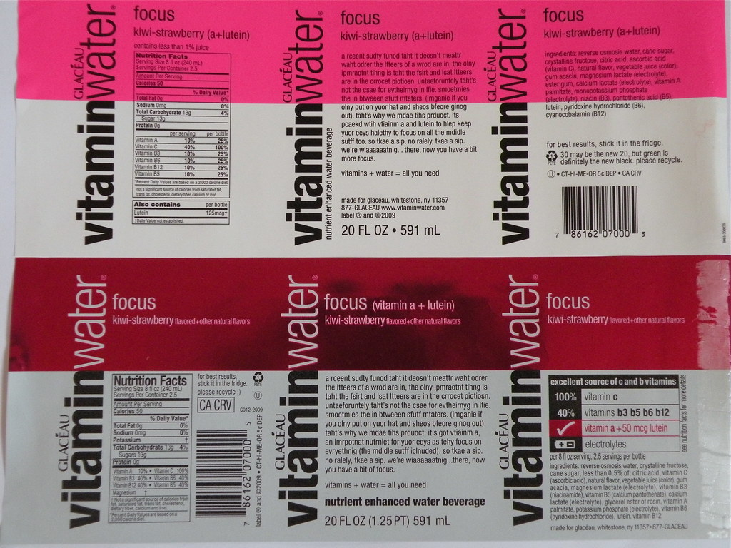 Vitamin Water Label Comparisons