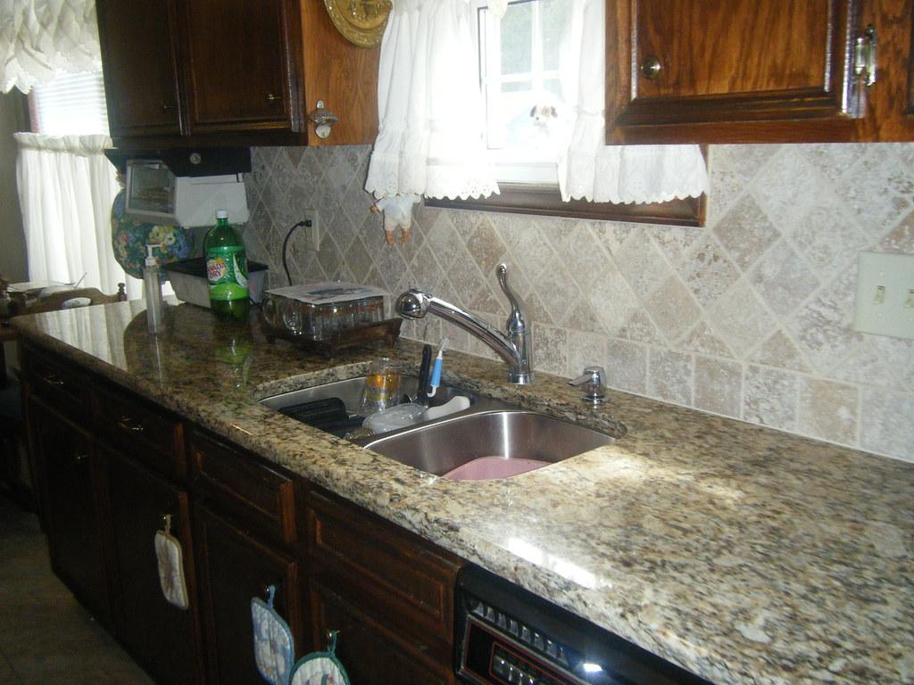 Santa Cecilia Granite Countertops with Tile Backsplash in ... on Best Backsplash For Granite Countertops  id=34237