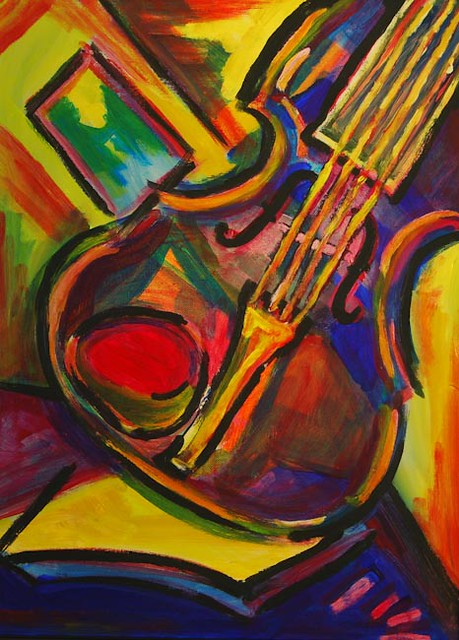 Expressionist Violin Acrylic On Canvas Painting By NW Indi Flickr