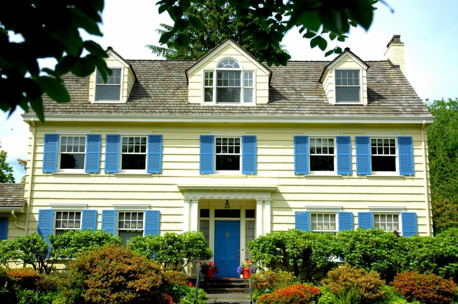 Image result for Three gables, 10 windows, blue shutters, yellow house in Washington Park neighborhood, Seattle, Washington, USA flickr