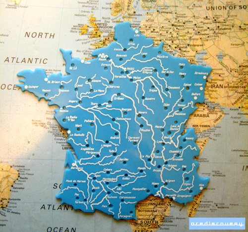 Map Stencil Of France Used In Classrooms To Help Draw