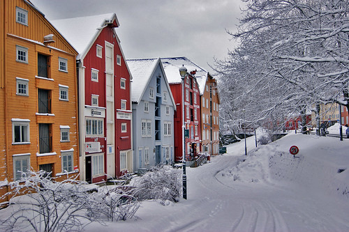 Trondheim Winter Old Warehouses By The River Scanair1