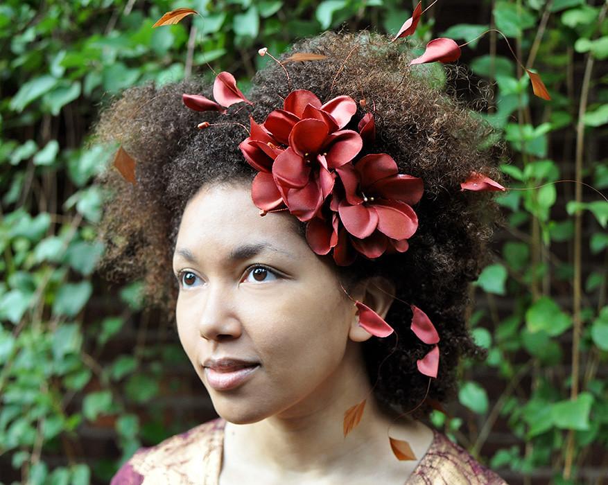 Natural Hair Accessories Headband Brown Autumn Flowers