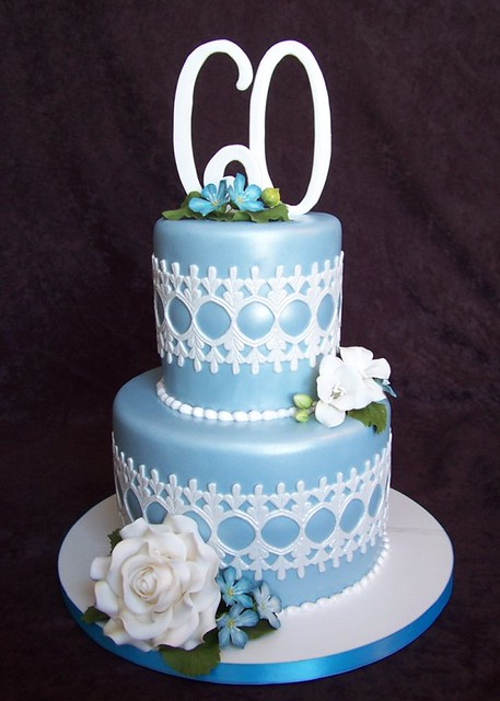 Blue Lace 60th Birthday Cake Rebecca Sutterby Flickr