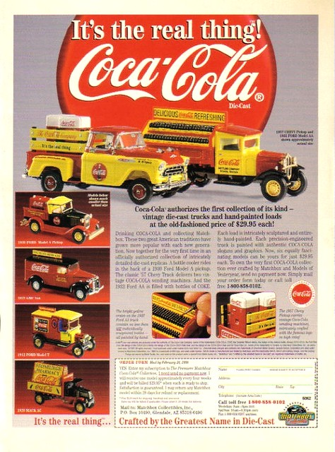 1999 MATCHBOX COCA COLA DIECAST TRUCK COLLECTION