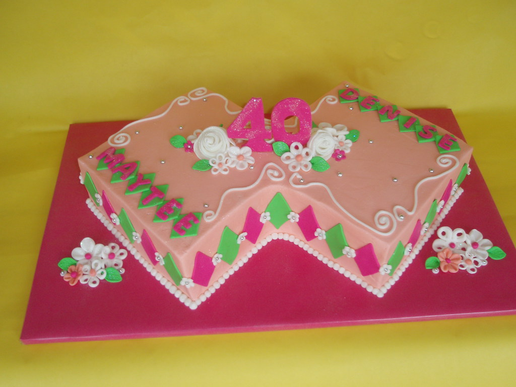 Twin Sisters 40th Birthday Cake