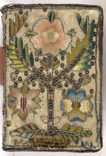 17th Century Embroidered Satin Book With Floral Motif