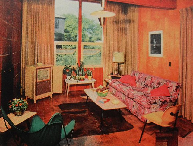 1950s TV Room Patterned Couch Vintage Interior Design Phot