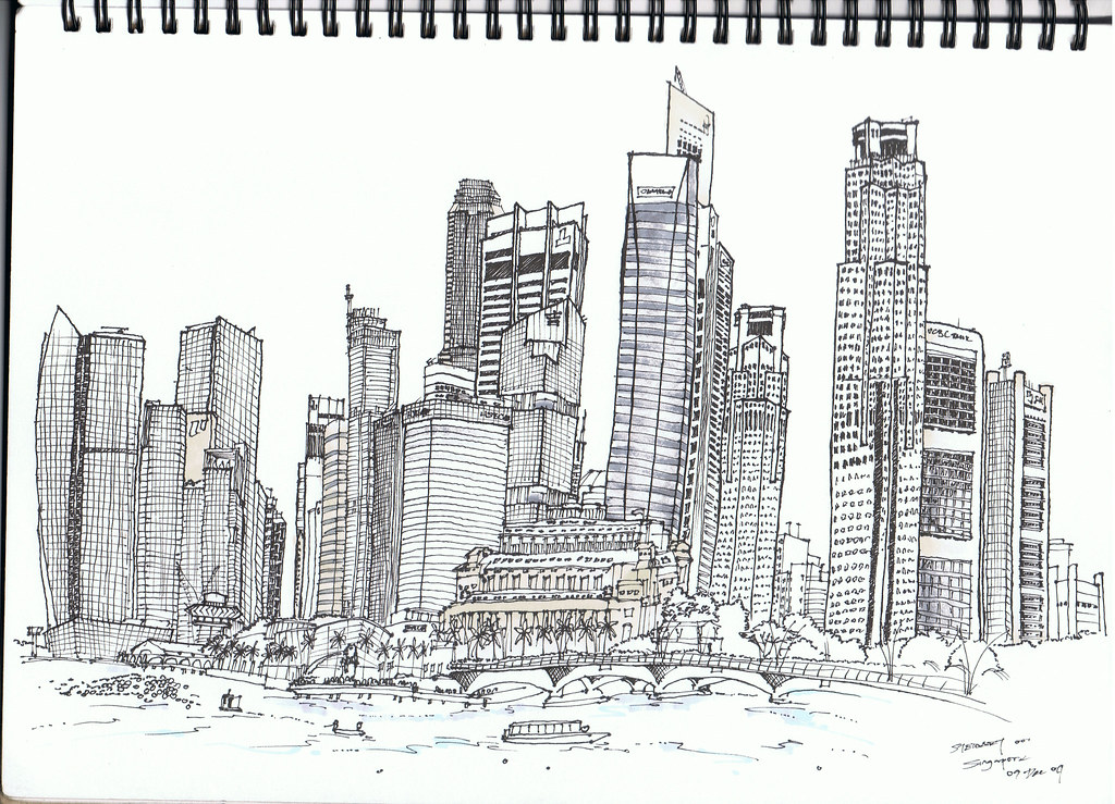 Singapore Skyline Pigment Ink Pen And Marker On A4