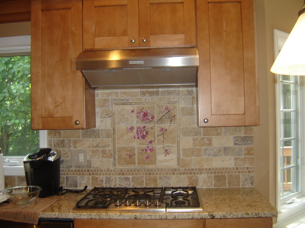Maple Cabinets, Granite Counters,Hand Painted Backsplash ... on Backsplash For Maple Cabinets  id=20206